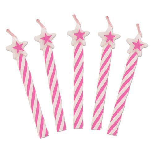Candle: Pink Star Top Candles x8pk