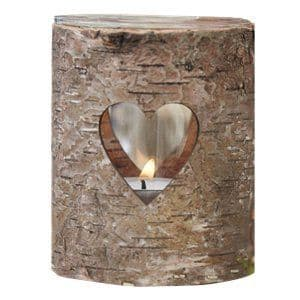 Candle: Rustic Country Wooden Heart Tealight Holder - 9cm