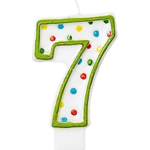 Candles: 7th Birthday Candle - Polka Dot 7.6cm