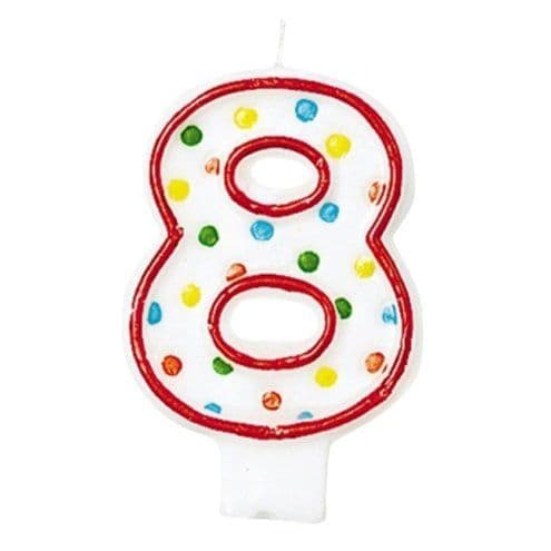 Candles: 8th Birthday Candle - Polka Dot 7.6cm