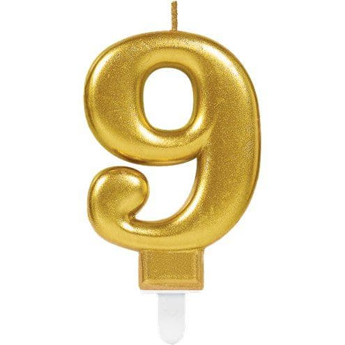 Candles: 9th Birthday Candle - Gold 7.5cm (3 colours)