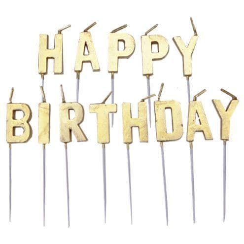 Candles: Gold Happy Birthday Pick Candle 13pk