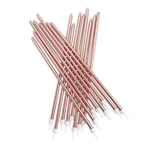 Candles: Metallic Rose Gold Extra Tall Candles x16pk