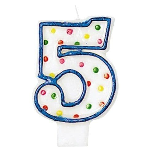 Candles: Number 5 Polka Dot Candle (each)