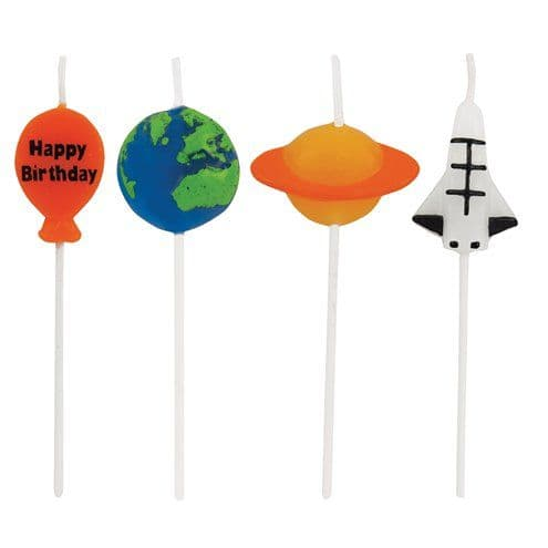 Candles: Space Blast Party Candles - Novelty Shaped Pick Candles x4pk