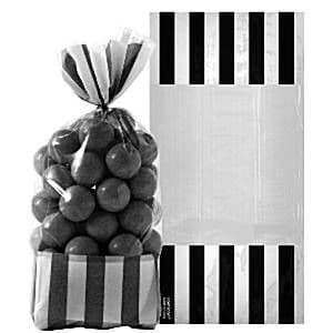 Candy Buffet: Cellophane Striped Sweet Bags - Black (10pk)