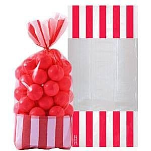 Candy Buffet: Striped Treat Cello Bags - Apple Red x10pk