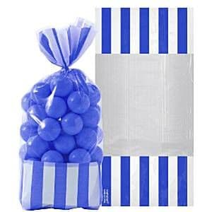Candy Buffet: Striped Treat Cello Bags - Bright Royal Blue  x10pk
