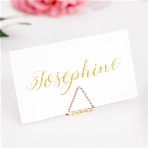 Card Holders: Rose Gold Triange Place Card Holders - Each