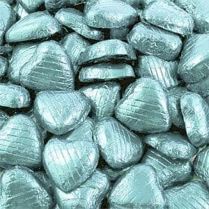 chocolate: Bulk Pack of Light Blue Chocolate Hearts - 500g (100pk)