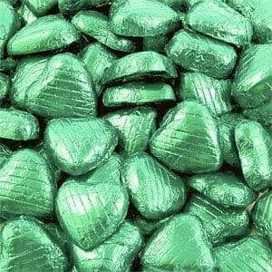 Chocolate: Bulk Pack of Pale Green Chocolate Hearts (100pk)