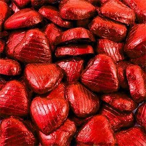 Chocolate: Bulk Pack of Red Chocolate Hearts - 500g x100