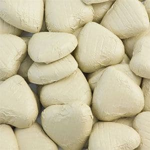 Chocolate: Ivory Foil Chocolate Hearts - Bulk Pack 100pk