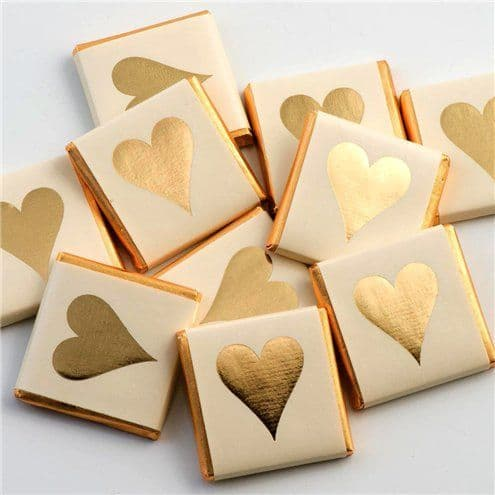 Confectionery: Gold Heart Chocolate Neapolitans - 50pk