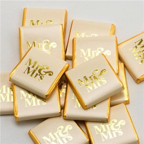 Confectionery: Gold 'Mr & Mrs' Chocolate Neapolitans - 50pk