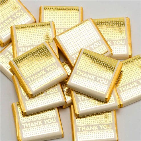 Confectionery: Gold 'Thank You' Chocolate Neapolitans - 50pk