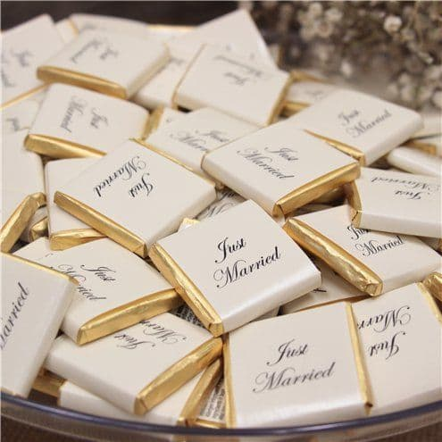 Confectionery: 'Just Married' Gold Chocolate Neapolitans - 48pk