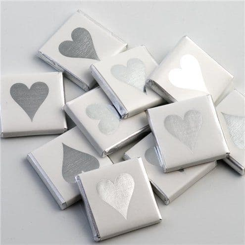 Confectionery: Silver Heart Chocolate Neapolitans - 50pk