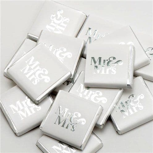 Confectionery: Silver 'Mr & Mrs' Chocolate Neapolitans - 50pk