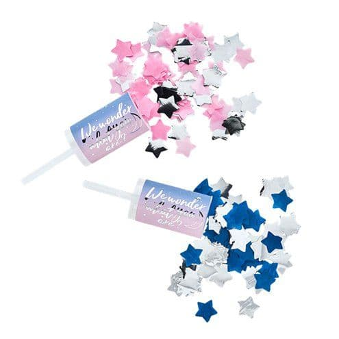 Confetti Cannon: Gender Reveal Confetti Push Poppers - Pink & Blue