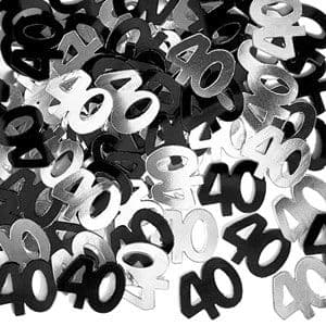 Confetti: Dazzling Effects 40th Table/Invite Confetti - Black & Silver