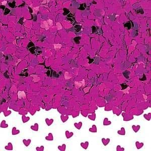 Confetti: Hot Pink Sparkle Hearts Metallic Confetti - 14g (each)
