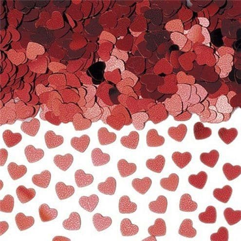 Confetti: Red Sparkle Hearts Metallic Confetti - 14g