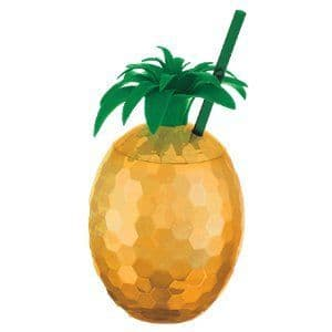 Cup: Hawaiian Gold Pineapple Tumbler Cup with Straw (each)