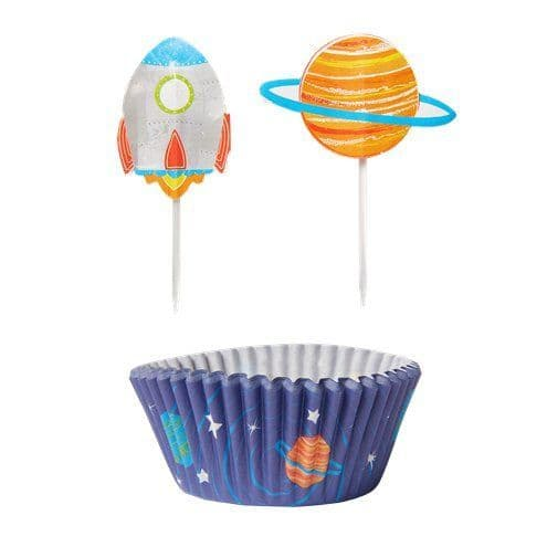 Cupcake cases: Blast Off Birthday Cupcake Cases & Picks x48pk