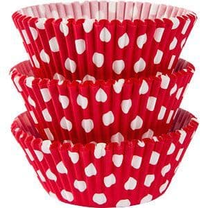 Cupcake cases: Red Dot Cupcake Cases - 5cm x75pk
