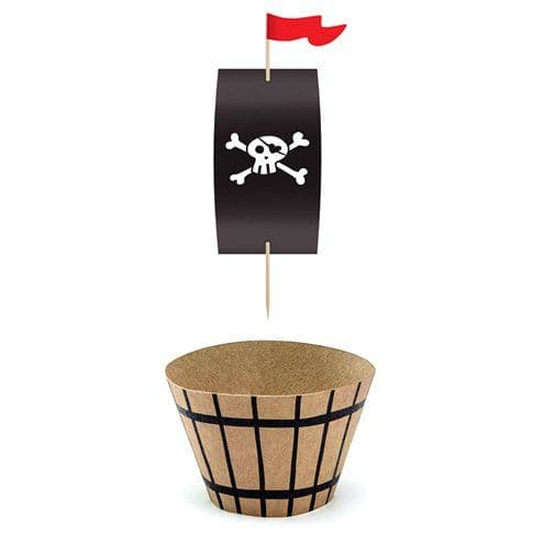 Cupcases: Pirate 'Flag and Barrel' Cupcake Cases and Picks x6pk