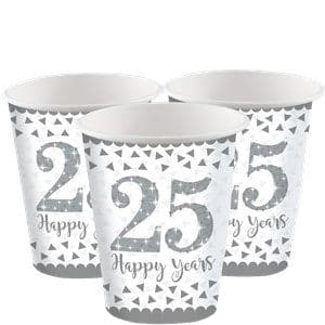 Cups: 25th Silver Sparkling Wedding Anniversary Cups - 266ml Paper Party Cups x8pk