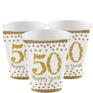 Cups: 50th Gold Sparkling Wedding Anniversary Cups - 266ml Paper Party Cups x8pk