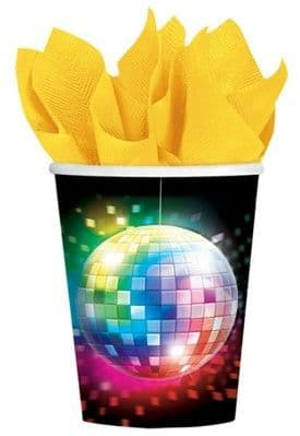 Cups: 70s Disco Fever Cups - 266ml Paper Party Cups (8pk)