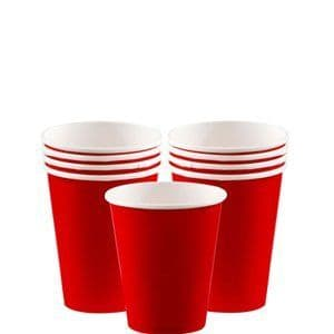 Cups: Apple Red Party Paper Cups 266ml (8pk)