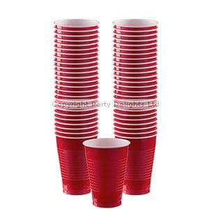 Cups: Apple Red Party Plastic Cups 355ml 50 pk