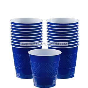 Cups: Bright Royal Blue Plastic Cups 266ml x20pk