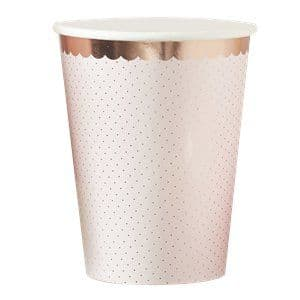 Cups: Ditsy Floral Rose Gold Polka Dot Cups x8pk