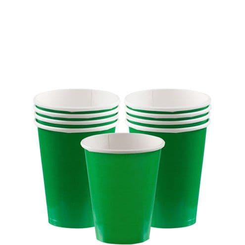 Cups: Festive Green Cups - 266ml Paper Party Cups x20pk