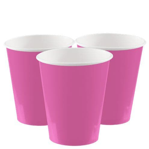 Cups: Hot Bright Pink Paper Cups 266ml (8pk)
