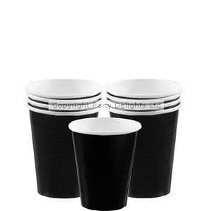 Cups: Jet Black Party Paper Cups 266ml (8pk)