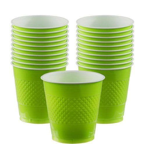 Cups: Kiwi Green Party Plastic Cups 355ml (20pk)