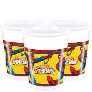 Cups: Spiderman 200ml Plastic Party Cups x8pk