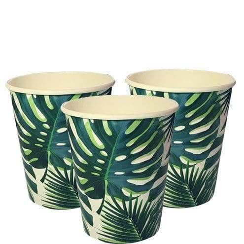 Cups: Tropical Fiesta Palm Paper Cups - 250ml x8pk