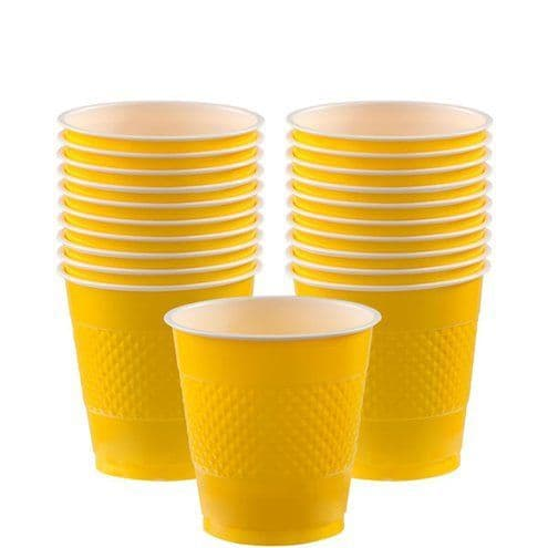 Cups: Yellow Cups - 266ml Plastic Party Cups x20pk
