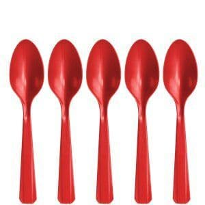 Cutlery: Apple Red Party Plastic Spoons 20pk