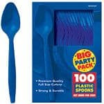 Cutlery: Bright Royal Blue Spoons (100pk)