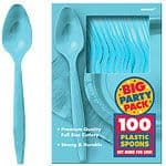 Cutlery: Caribbean Turquoise Party Plastic Spoons (100pk)