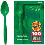 Cutlery: Festive Green Party Plastic Spoons x100pk