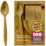 Cutlery: Gold Party Plastic Spoons x100pk